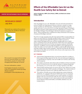 Cover Page from Effects of ACA on Safety Net in Detroit July 2016